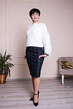 Прямая женская юбка с серымы вставками