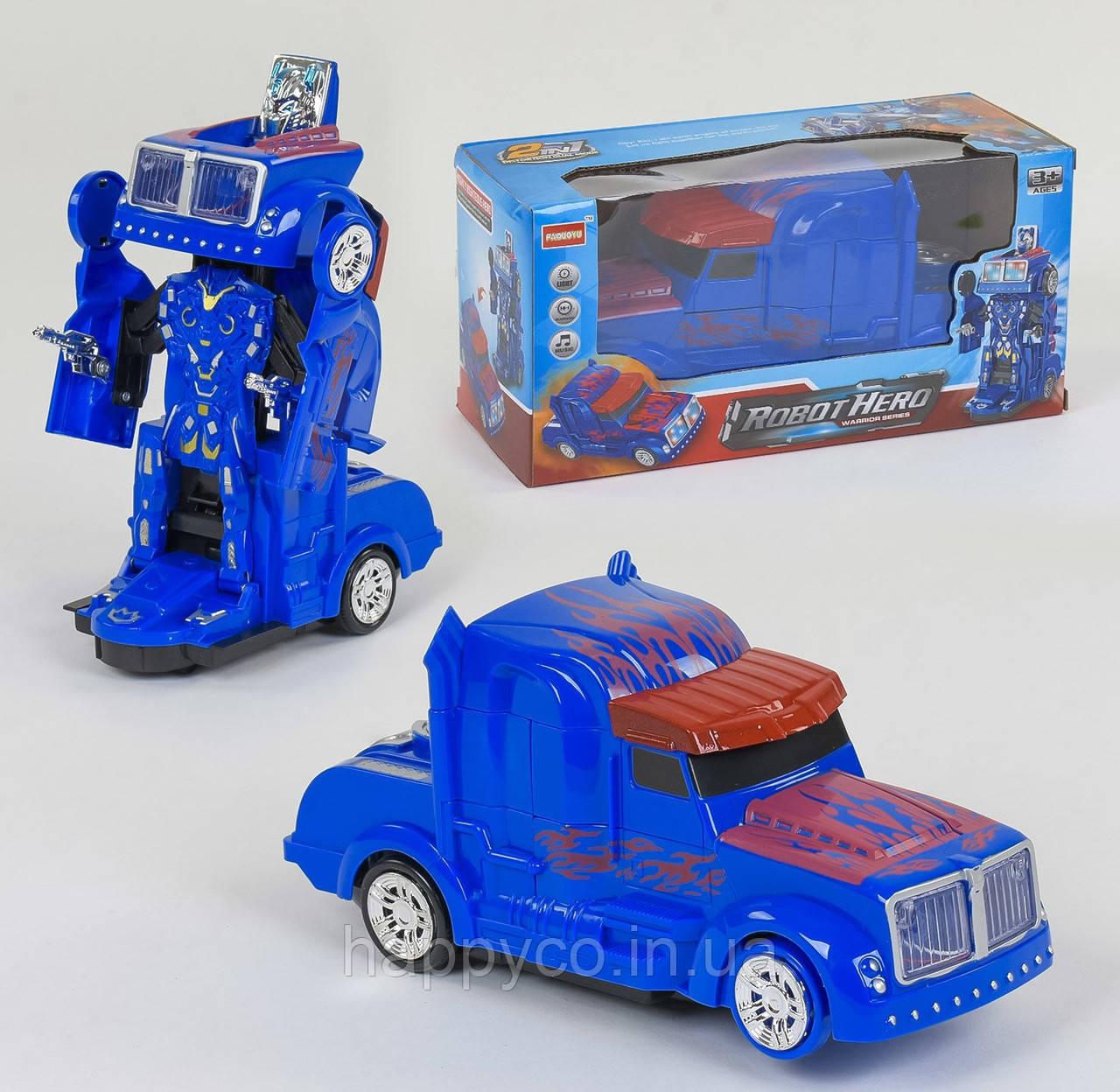 Детская машинка трансформер на батарейках, световые и звуковые эффекты