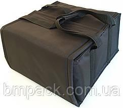 Термосумка для доставки пиццы двойная черная застёжка липучка, фото 2