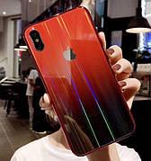 Чехол Glass Shine для Iphone 6  Red-Black