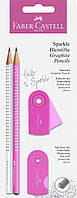 Набор Faber-Castell 2 карандаша чернографитных Grip Sparkle Pearl с точилкой и ластиком Sleeve, 218477