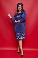 Женское батальное платье с бархатной аппликацией