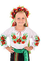 Детская вышиванка «Маки» на рост 140-150 см