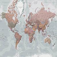 Фотообои (флизелиновые, плотная бумага) 368x254 см Карта мира на голландском языке (33223CNP8)
