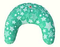 Подушка для кормления младенцевТМ Лежебока Холлофайбер Белые звёзды на зелёном