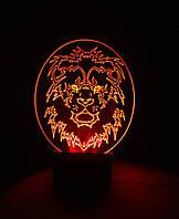 3d-светильник Лев 2 (круглый), 3д-ночник, несколько подсветок (на пульте)
