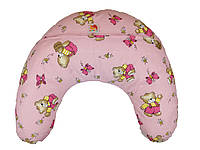 Подушка для кормления младенцевТМ Лежебока Шарики пенополистирола Мишки на розовом
