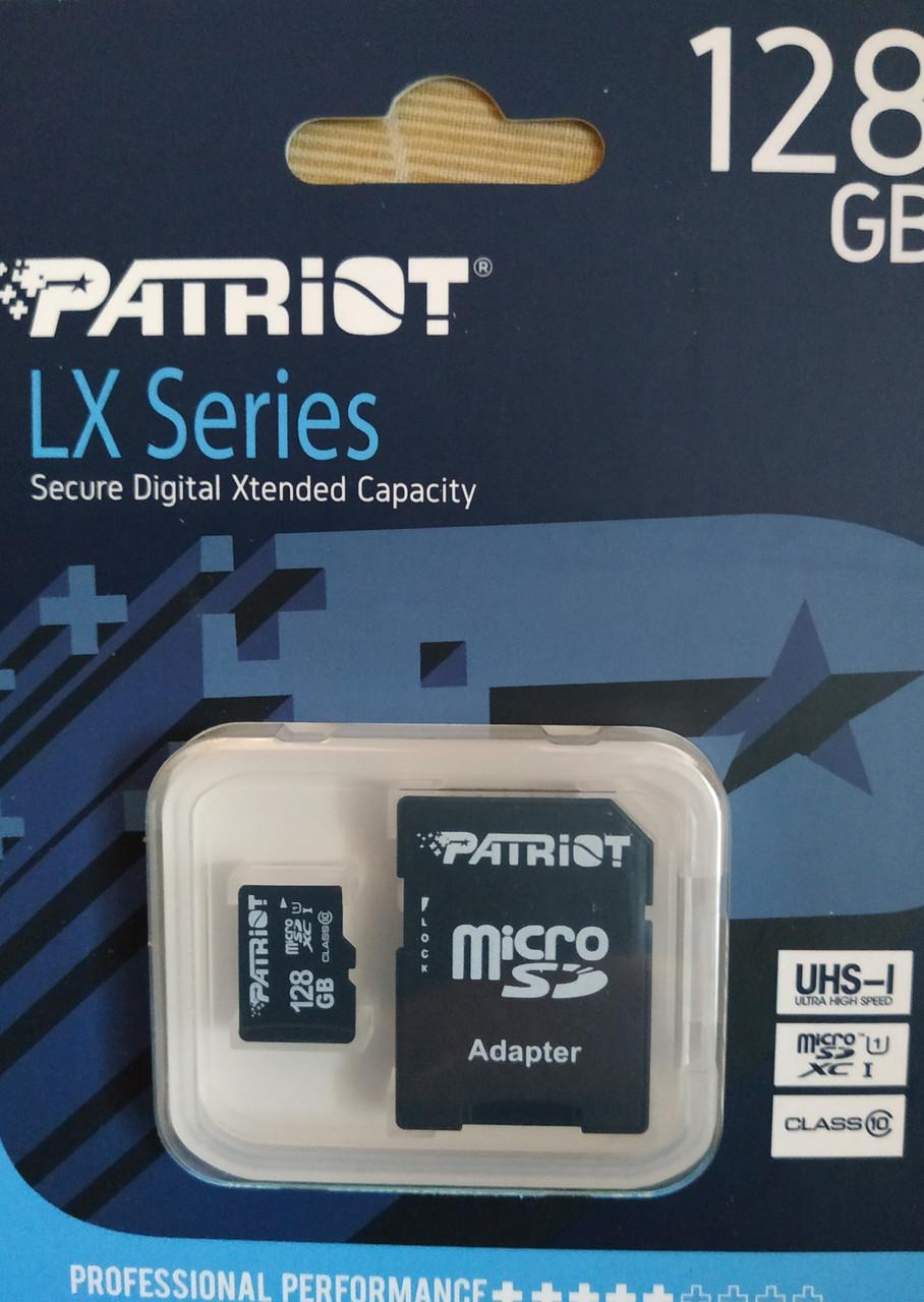 Карта памяти микро SDXC Patriot 128 гб класс 10 UHS-1 с адаптером