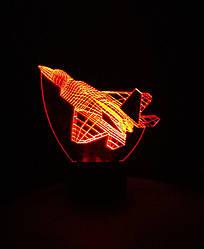 3d-светильник Самолет истребитель, 3д-ночник, несколько подсветок (на батарейке), подарок летчику