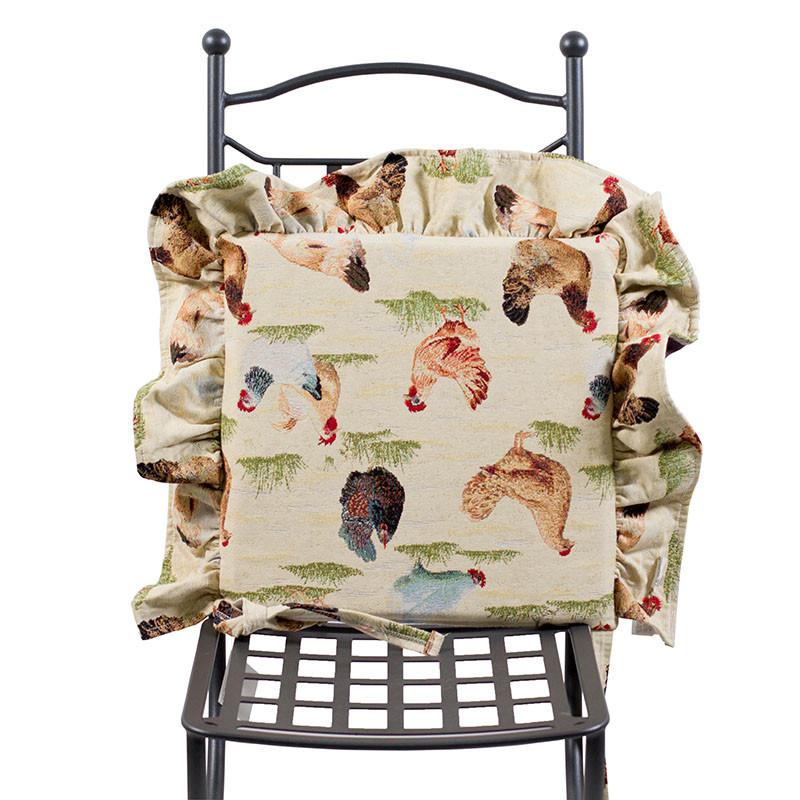 Подушка для стула декоративная гобеленовая Испания Emilia Arredamento Курочка Ряба 40х40 см