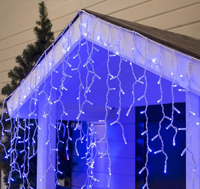 "Уличная LED гирлянда Бахрома ""Icicle"" 5 метров Синяя, 100 Ламп белый провод каучук пвх, 8 режимов"