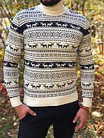 Мужской свитер с оленями белый с черным