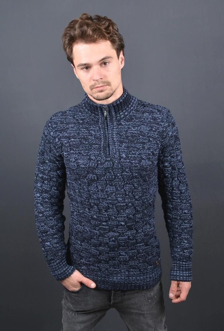 Мужской свитер на замке темно синий Турция 2508