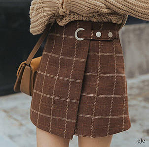 Короткая молодежная твидовая юбка в клетку 44-46 р