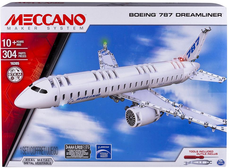 Конструктор Meccano арт 6028402 25*35*6 см, Boeing, в коробке, развивающая игрушка, подарок для ребенка