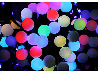 Гирлянда светодиодная шарик прозрачный 40 ламп, диаметр 18 мм, черный провод
