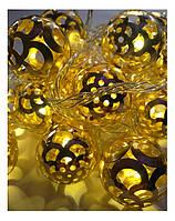 Гирлянда LED шарик золото 2 см, 28 ламп, прозрачный провод