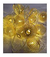 Гирлянда LED шарик-сетка золото 28 ламп, прозрачный провод