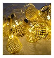 Гирлянда LED грушка-сетка золото 28 ламп, прозрачный провод