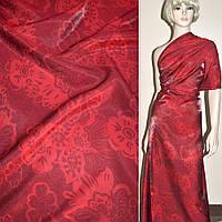 Вискоза костюмная с органзой красная в цветы, ш.150 ( 10901.001 )