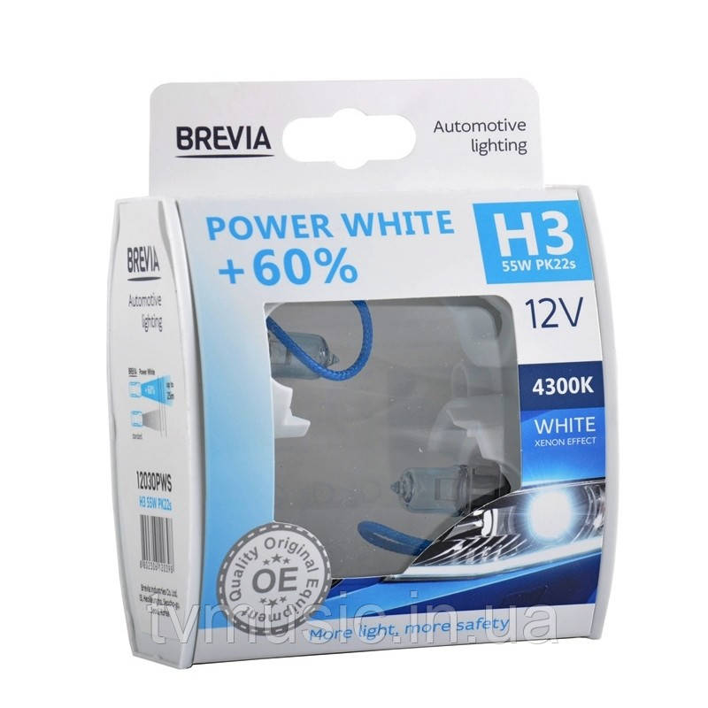 Автолампы BREVIA Power White +60% H3 12V 55W 4300K
