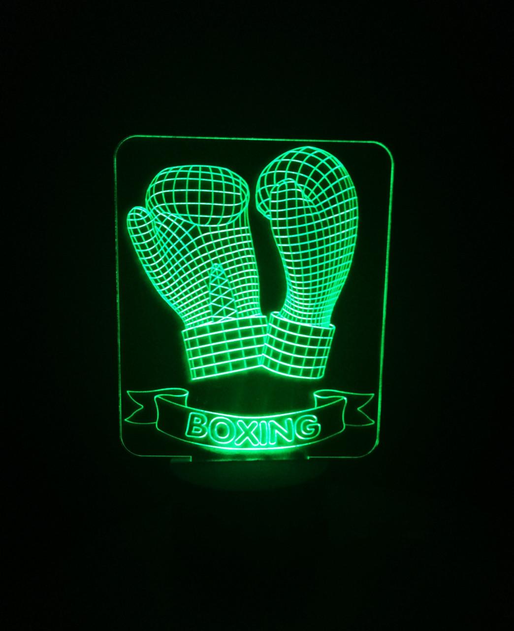 3d-светильник Перчатки боксерские, 3д-ночник, несколько подсветок (батарейка+220В), подарок для боксера