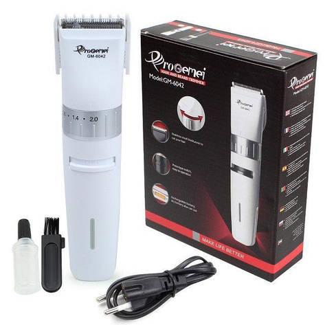 Акумуляторна машинка для стрижки волосся Gemei GM-6042, фото 2