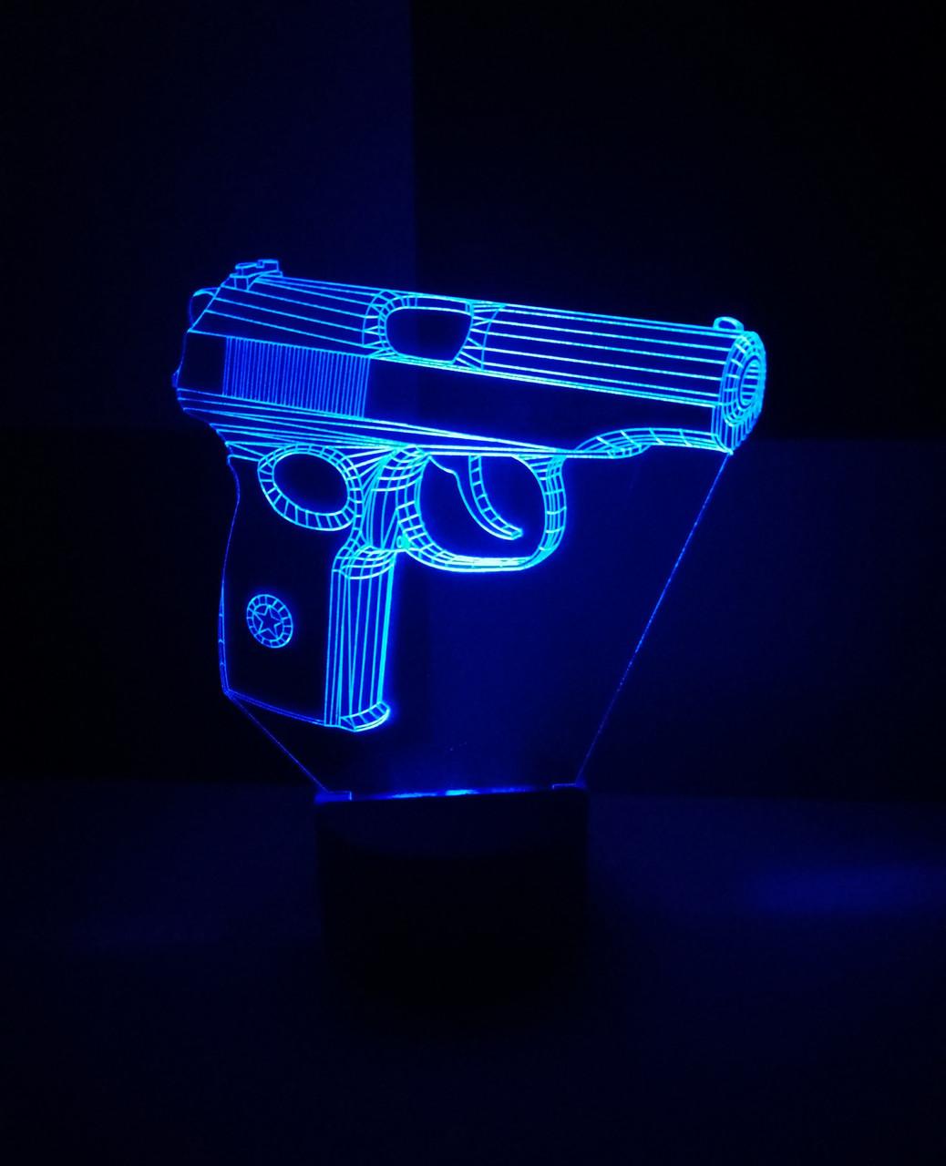 3d-светильник Пистолет Макарова, 3д-ночник, несколько подсветок (батарейке)
