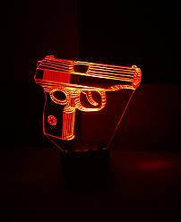 3d-светильник Пистолет Макарова, 3д-ночник, несколько подсветок (батарейка+220В)