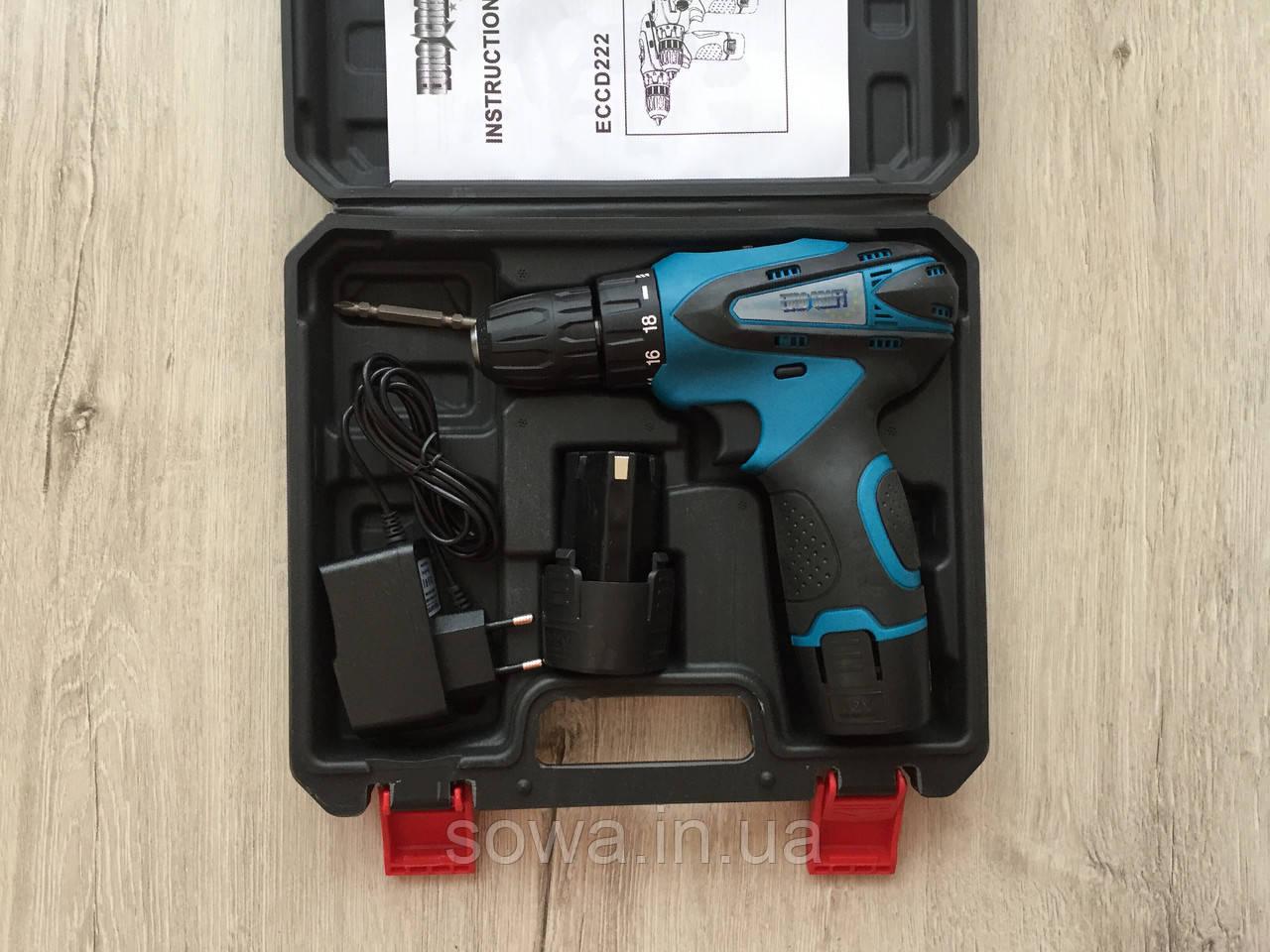✔️ Шуруповерт акумуляторний Euro Craft ECCD222 ( 12 Вт , Li-Ion , 1.5 А/ч )