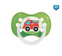 SALE! Латексная круглая пустышка Canpol Babies Vehicles, 0-6 мес., салатовый (22/411)