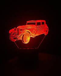3d-світильник Ретро автомобіль, 3д-нічник, кілька підсвічувань (на батарейці)