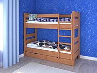 """Двоярусне деревяне ліжко з шухлядами """"Селена"""" (7 кольорів)"""