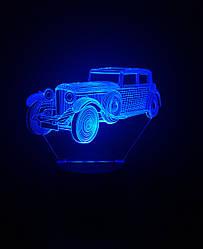 3d-світильник Ретро автомобіль, 3д-нічник, кілька підсвічувань (батарейка+220В)