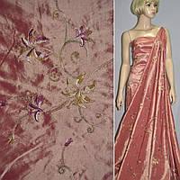 Тафта персиковая с вышивкой (14401.003)