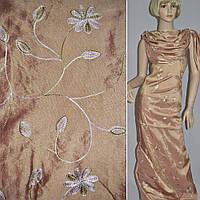 Тафта бледно-персиковая с вышивкой (14402.002)