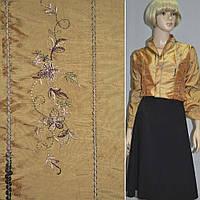 Тафта золотистая с вышивкой полосы цветы (14405.001)