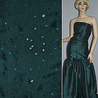 Тафта зеленая темная с вышивкой и пайетками (14407.001)