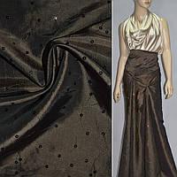 Тафта коричневая светлая с вышивкой (14407.003)
