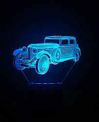 3d-світильник Ретро автомобіль, 3д-нічник, кілька підсвічувань (на пульті)