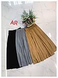 Женская замшевая юбка-миди плиссированная (в расцветках), фото 2