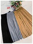 Женская замшевая юбка-миди плиссированная (в расцветках), фото 3