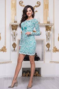 Коктейльное платье 3341e Белый/бирюза M(р)