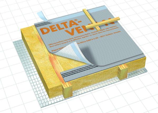 Мембрана Дельта Vent N PLUS Прочная трехслойная мембрана с самоклеящимися полосами для укладки без вент зазора