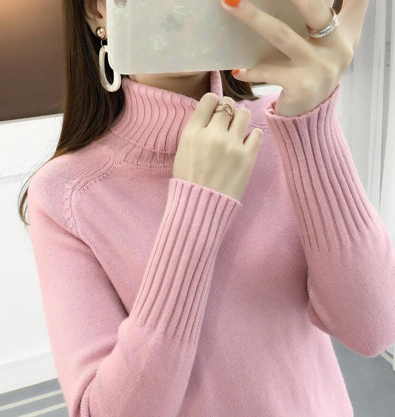 Женский розовый теплый гольф ( свитер), Т 074-2