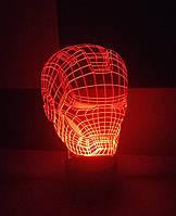 3d-светильник Шлем Железного человека, Iron man, 3д-ночник, несколько подсветок (на батарейке)