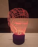 3d-светильник Шлем Железного человека, Iron man, 3д-ночник, несколько подсветок (на пульте))