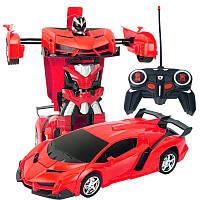 Машинка Трансформер Lamborghini Robot Car Size 1:18 КРАСНАЯ С ПУЛЬТОМ