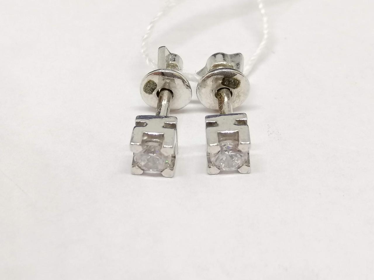 Серебряные серьги-пуссеты с фианитами. Артикул 72134Б