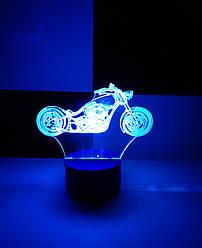 3d-світильник Чоппер, мотоцикл, 3д-нічник, кілька підсвічувань (на батарейці)